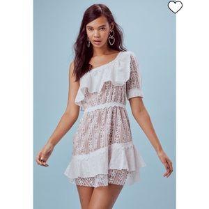 FOR LOVE AND LEMONS WHITE LOVEBIRD MINI DRESS NWT